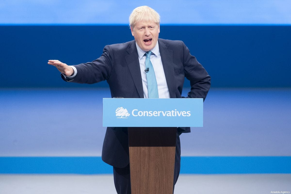 British Prime Minister Boris Johnson makes a speech during the Conservative Party annual conference in Manchester, UK on 2 October 2019 [Ray Tang/Anadolu Agency]