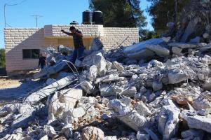 A view of a wreckage, after Israeli forces demolished a house which was under construction, belongs to a Palestinian Ali Mohammad al-Allami with the claim of being unlicensed, at Beit Ummer district in Hebron, West Bank on 3 October 2019. [Mamoun Wazwaz - Anadolu Agency]
