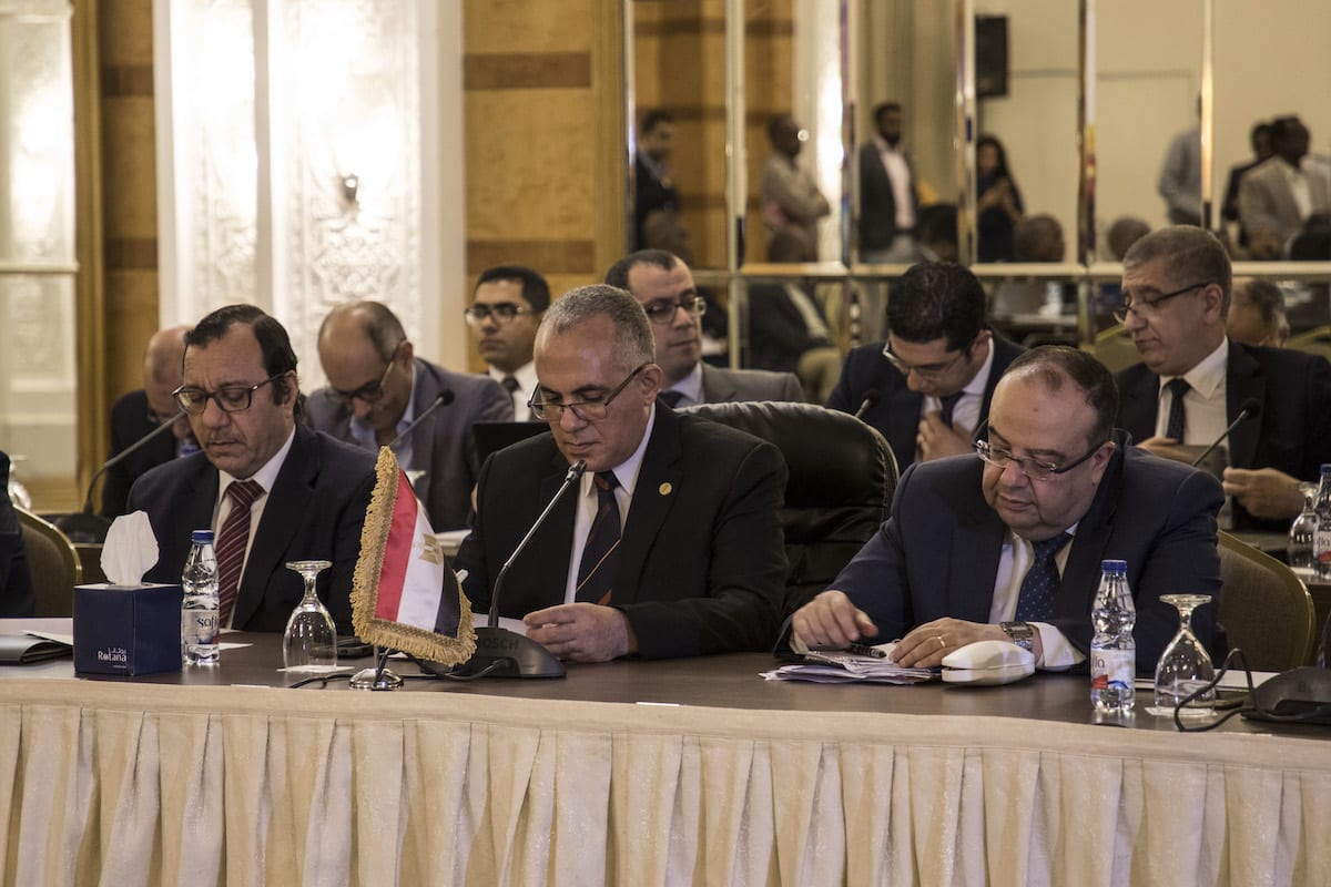 Egyptian Minister of Water Resources, Mohamed Abdul Ati attends the talks on Hidase (Nahda) Dam, built on the Blue Nile River in Ethiopia, between Sudan and Egypt in Khartoum, Sudan on 4 October 2019 [Mahmoud Hajaj / Anadolu Agency]