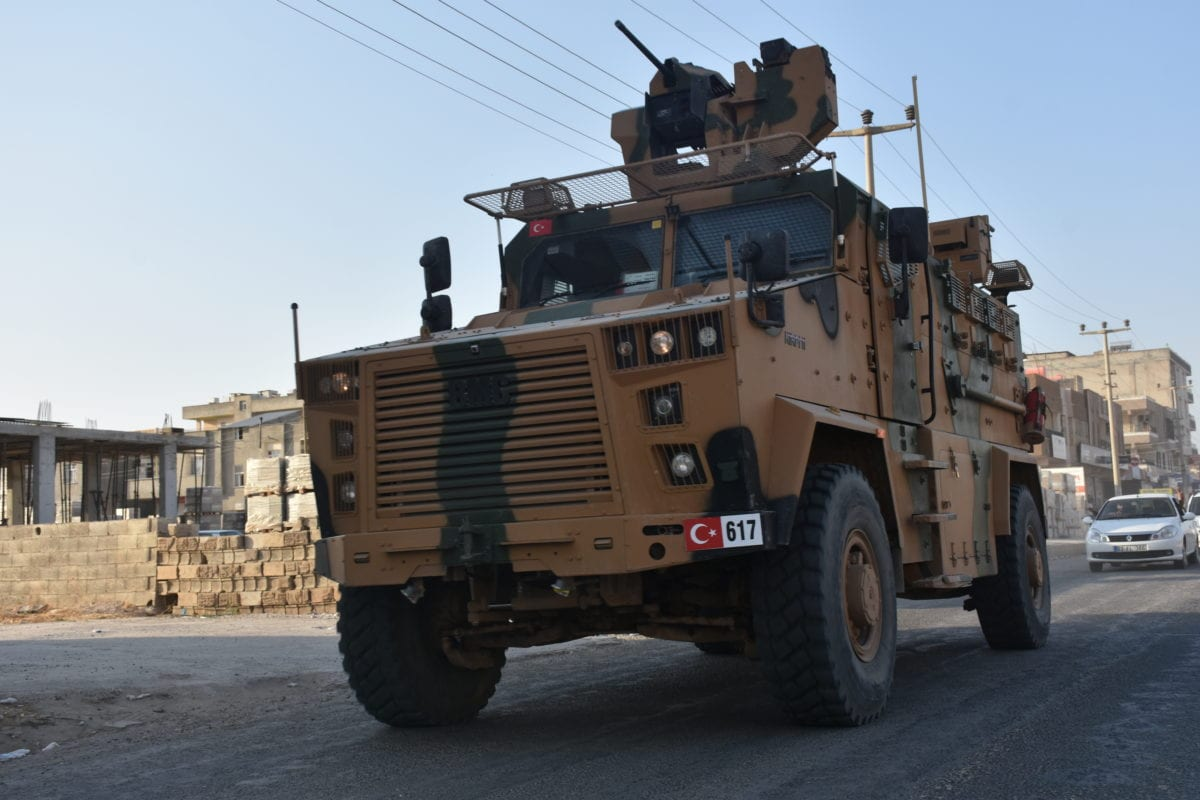Turkish Armed Forces' armoured vehicles and armoured personnel carriers, carrying Turkish commandos move towards to Syrian border at Turkey's Sanliurfa as Turkish troops along with the Syrian National Army begin Operation Peace Spring in northern Syria against PKK/YPG, Daesh terrorists, across Akcapinar district of Sanliurfa, Turkey on 9 October 2019. [Mehmet Akif Parlak - Anadolu Agency]