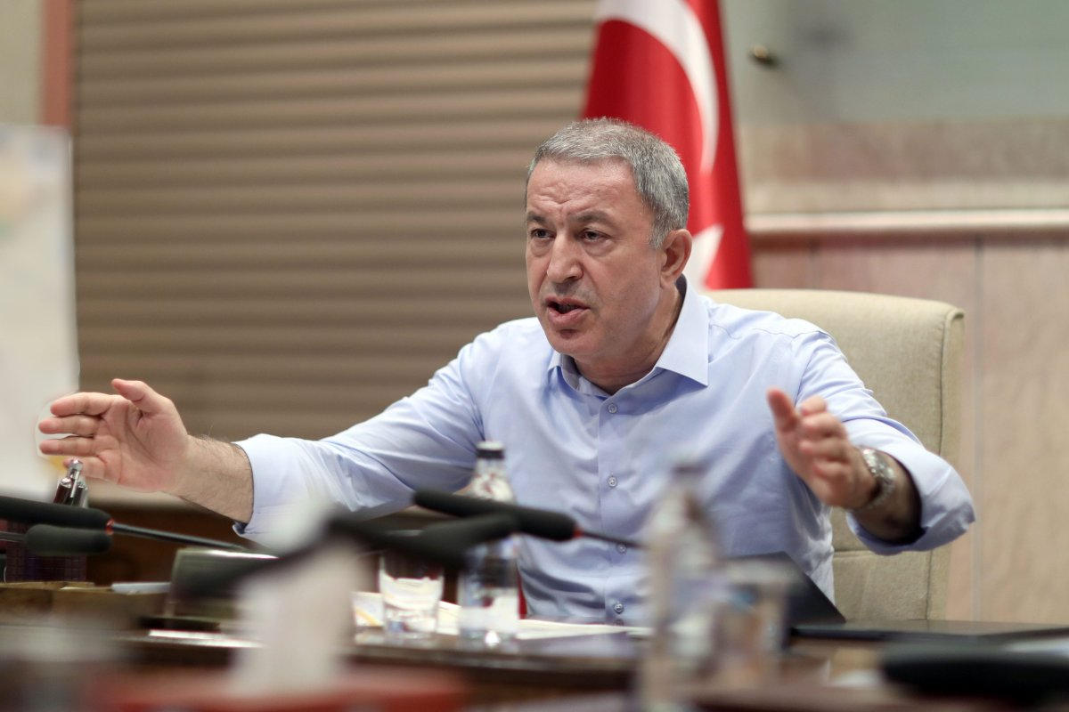 Turkish National Defense Minister Hulusi Akar evaluate the current status and conducts the Operation Peace Spring, during a meeting in Ankara, Turkey on 14 October, 2019 [Arif Akdoğan/Anadolu Agency]
