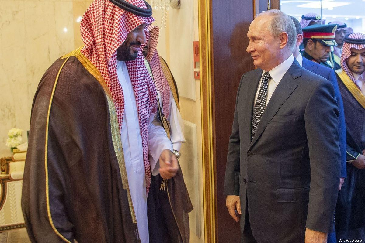 Russian President Vladimir Putin (R) and Saudi Arabia's King Salman bin Abdulaziz al-Saud (not seen) meet at the Al-Yamamah Palace in Riyadh, Saudi Arabia on 14 October 2019 [BANDAR ALGALOUD / SAUDI KINGDOM COUNCIL / HANDOUT/Anadolu Agency]