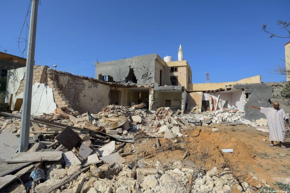 A view of a house hit by airstrike of the Haftar's forces in Tripoli, Libya on October 14 2019. Three people were killed, two others were wounded in the airstrike in Tripoli's Farnaj area [Hazem Turkia / Anadolu Agency]