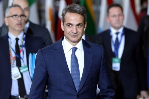 Greek Prime Minister Kyriakos Mitsotakis arrives at the EU headquarters to attend for an European Union Summit in Brussels, Belgium on October 17, 2019 [Dursun Aydemir/Anadolu Agency]