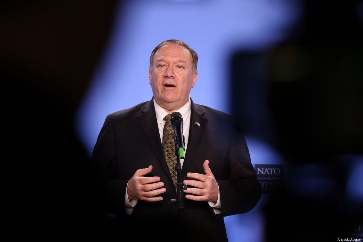 US Secretary of State Mike Pompeo speaks to press during a joint news conference with NATO Secretary General Jens Stoltenberg (not seen) at the NATO headquarters in Brussels, Belgium on 18 October, 2019. Secretary Pompeo will meet with NATO partners [Dursun Aydemir/Anadolu Agency]