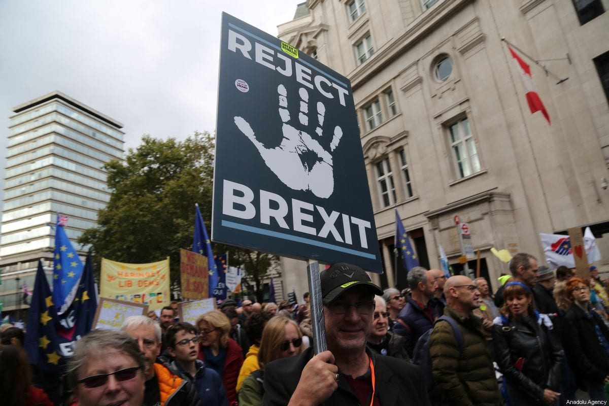 Crowds march through central London to demand a People's Vote on the Governments new Brexit deal on 19 October 2019 in London, UK [Tayfun Salcı/Anadolu Agency]