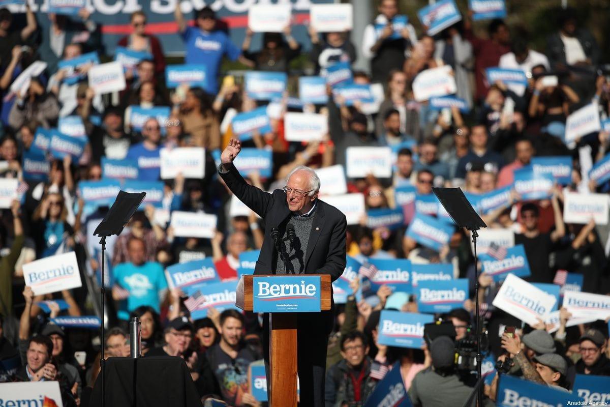 US Democratic presidential candidate, Senator Bernie Sanders speaks during a campaign rally at Queensbridge Park in New York, United States on October 19, 2019 [Tayfun Coşkun / Anadolu Agency]