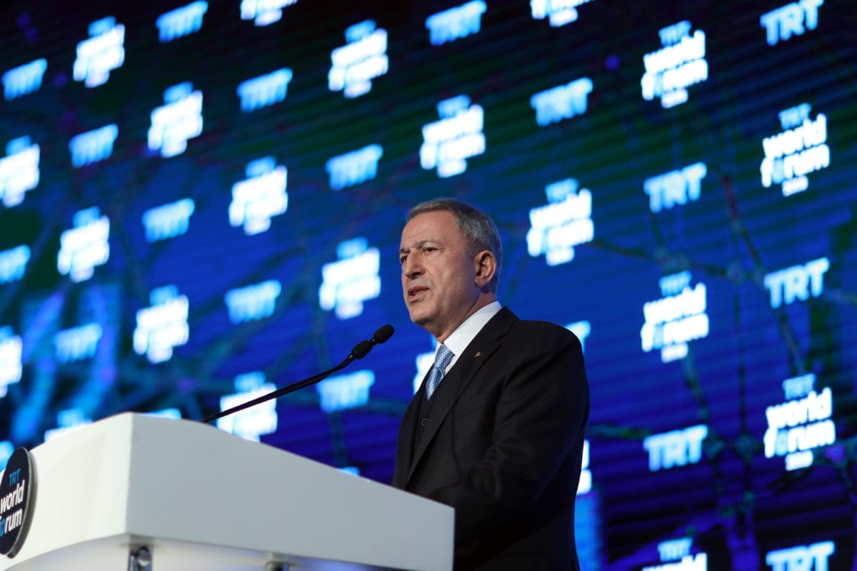 Turkish National Defense Minister Hulusi Akar makes a speech during TRT World Forum 2019 held under main theme of Globalization in Retreat: Risks and Opportunities, on 21 October 2019 in Istanbul, Turkey. [Arif Akdoğan - Anadolu Agency]