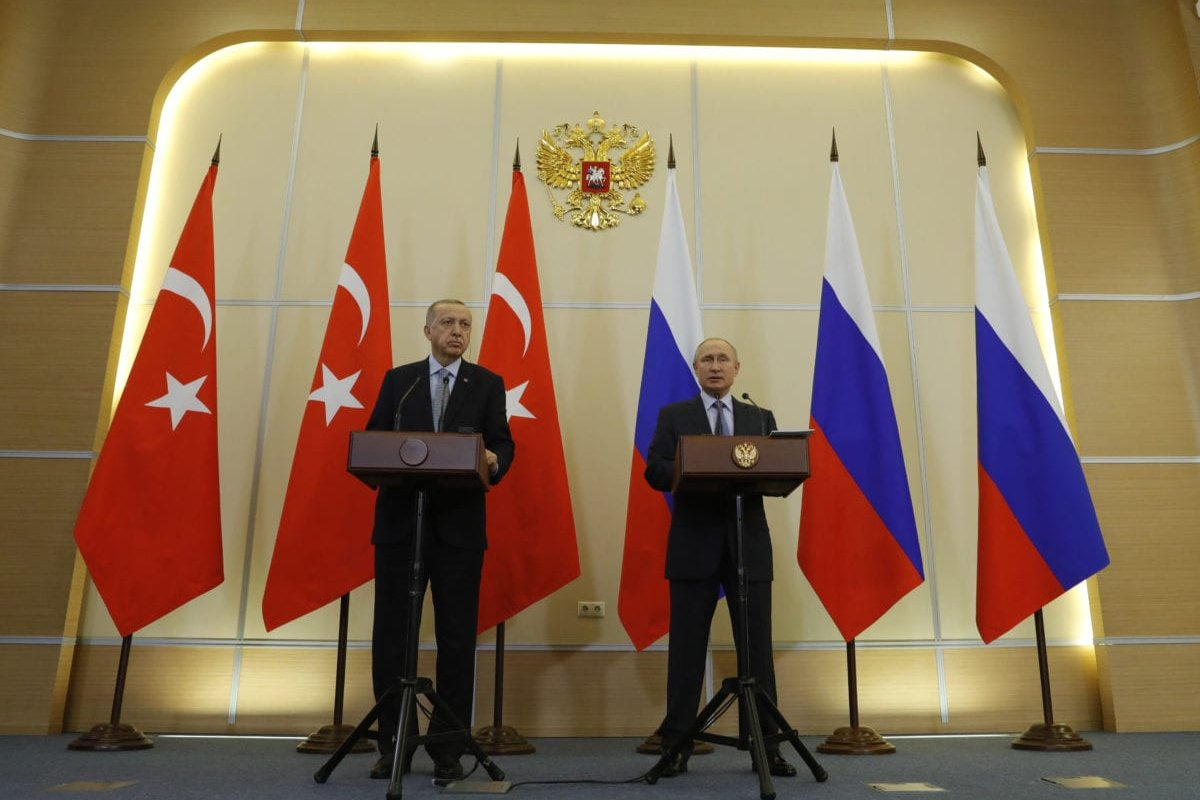 President of Turkey, Recep Tayyip Erdogan (L) and Russian President Vladimir Putin (R) hold joint press conference after their meeting at Presidential Residence in Sochi, Russia on 22 October, 2019 [Mustafa Kamacı/Anadolu Agency]