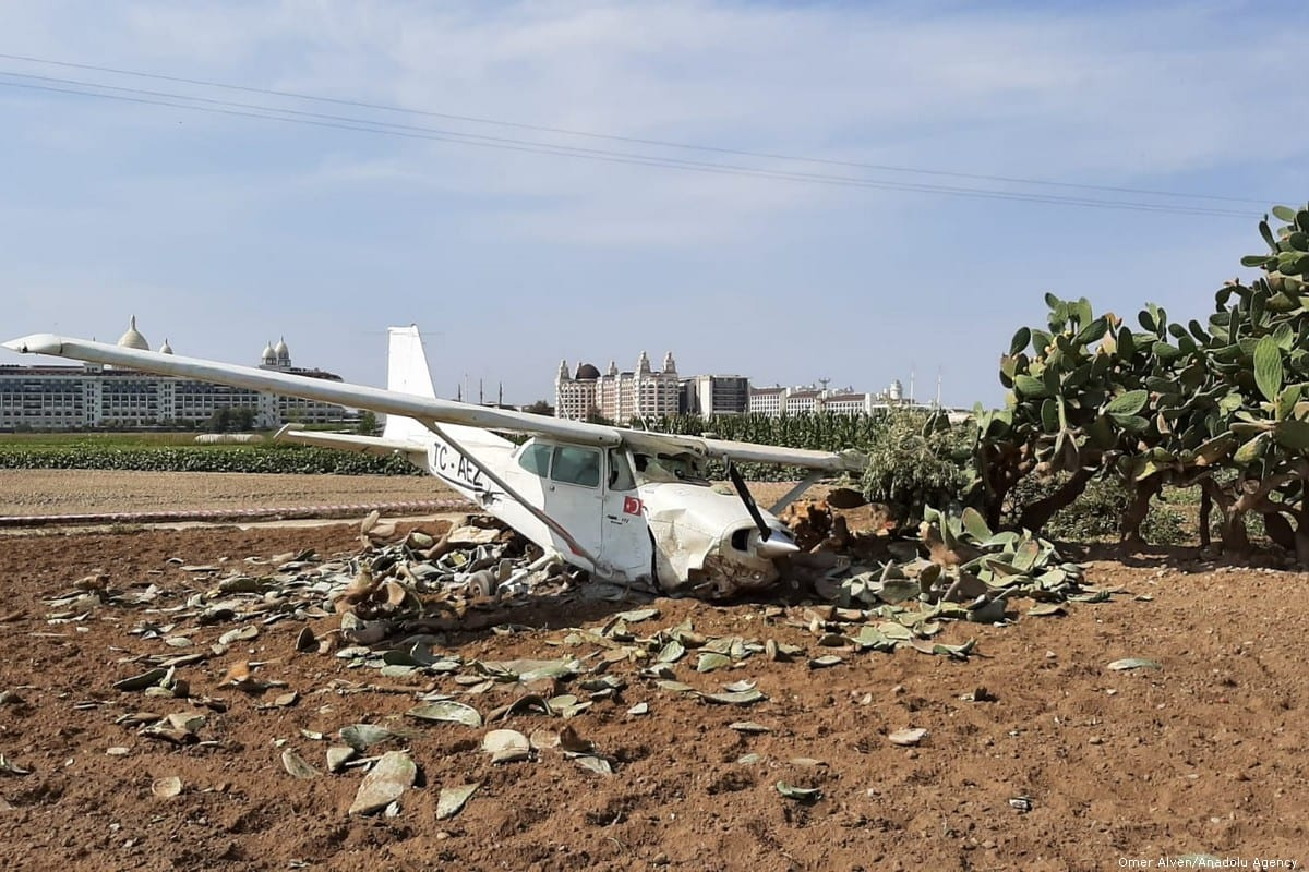 The wreckage of a civilian training plane at the site after it crashed in Antalya, Turkey on 15 October 2019 [Fatih Hepokur/Anadolu Agency]
