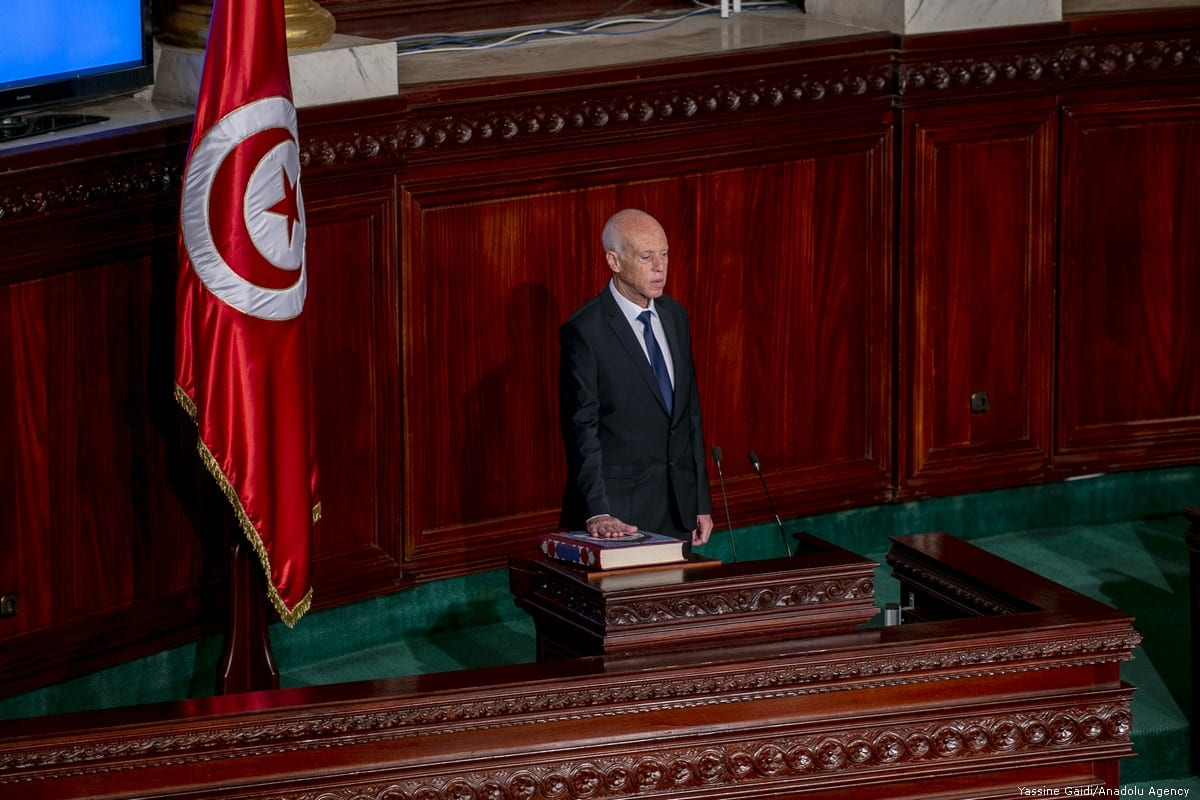 Tunisia's new President Kais Saied takes the oath of office on 23 October 2019 in Tunis, Tunisia [Yassine Gaidi/Anadolu Agency]