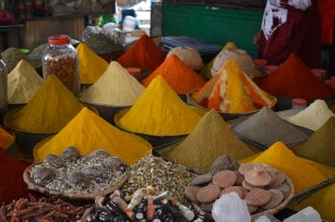 Exotic spices on sale in the ancient market of the city of Rissani, the oldest capital in Morocco, located in the desert region close to the Western Sahara.