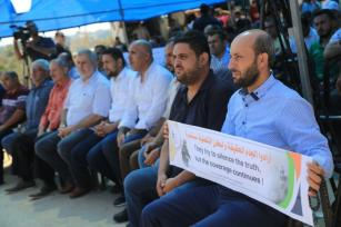 Gaza journalists protest Israel violations, siege on 3 October 2019 [Wafa Aludaini]