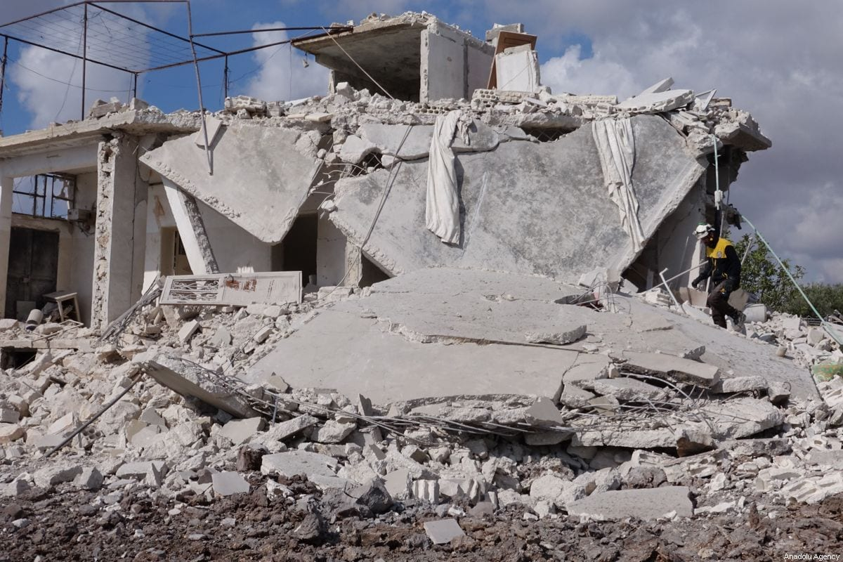 A destroyed building is seen after the Assad Regime carried our air strikes in Idlib, Syria on 2 November 2019 [Muhammed Abdullah/Anadolu Agency]