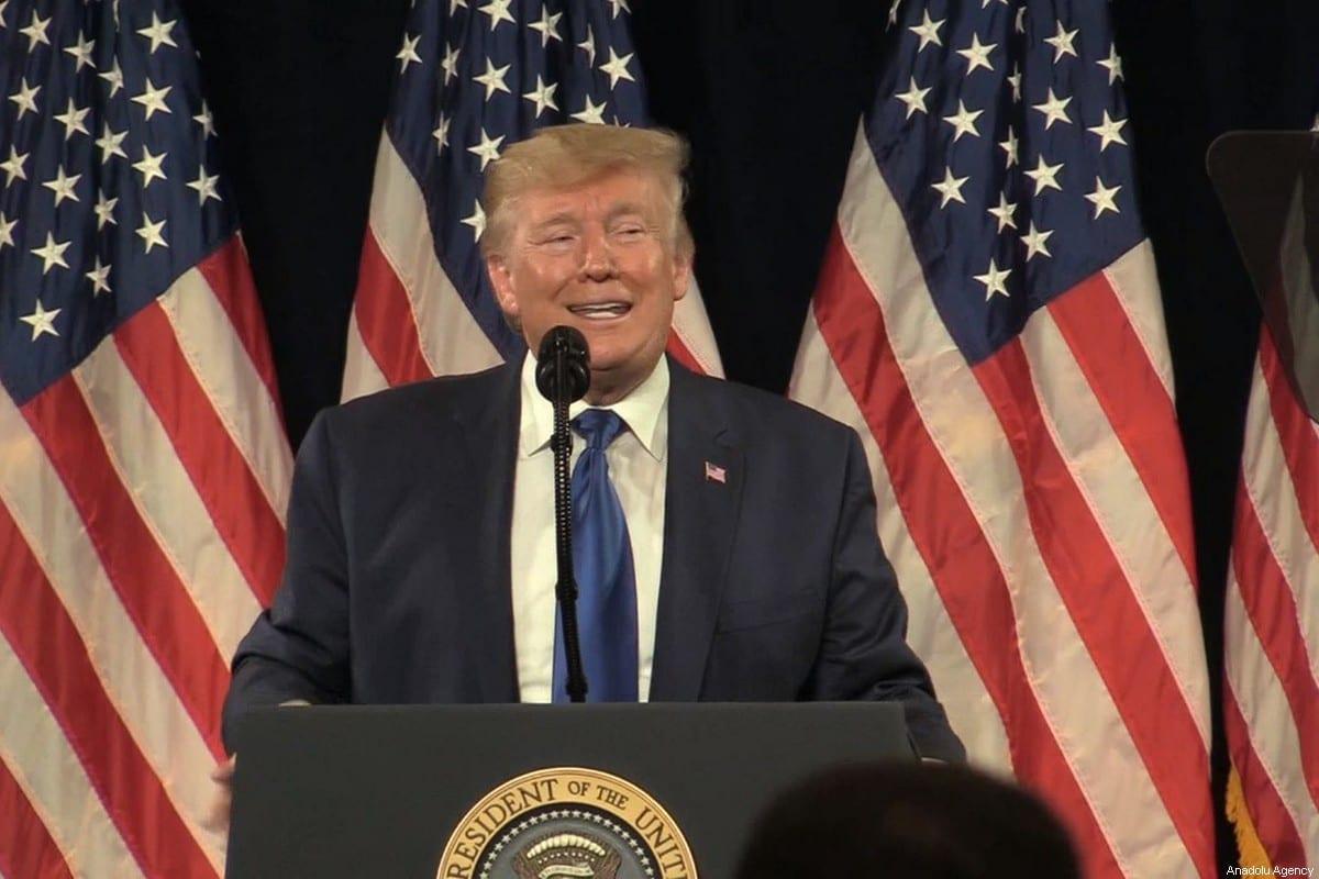 US President Donald Trump at an event in Atlanta, Georgia, United States on 8 November, 2019 [Kyle Mazza/Anadolu Agency]