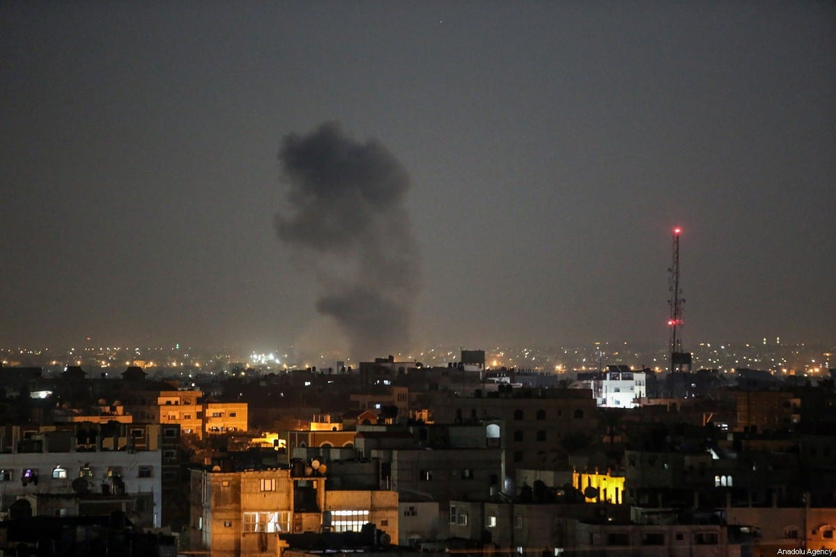 Smoke rises after Israel carried out air strikes over Gaza City, Gaza on 12 November, 2019 [Abed Rahim Khatib/Anadolu Agency]