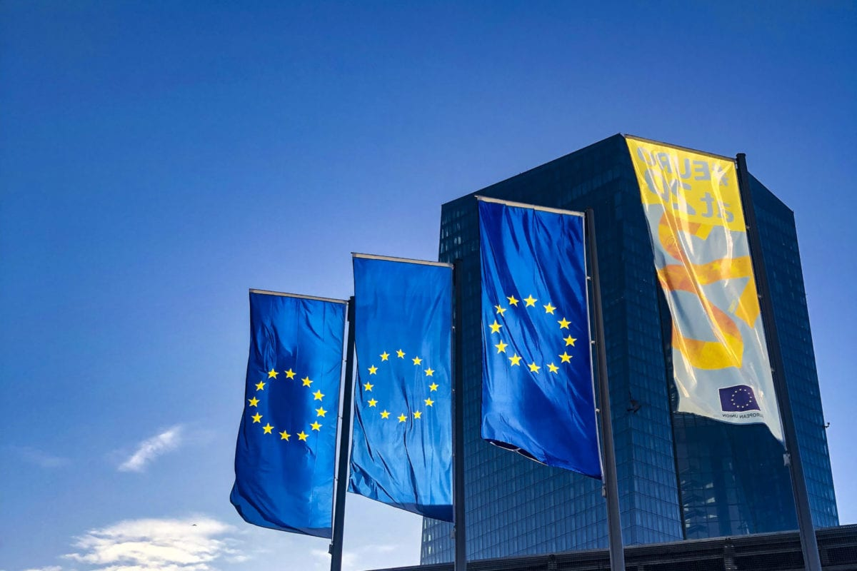EU flags on November 11, 2019 [Aysu Biçer/Anadolu Agency]