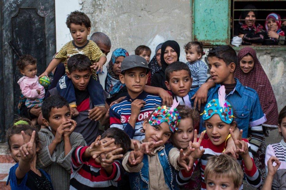 Palestinian children in Gaza - a still from the film, Gaza