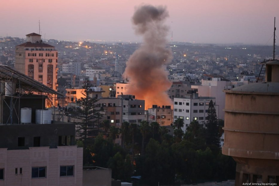 Smoke rises following an Israeli attack in Gaza city on November 12, 2019. Photo by Ashraf Amra