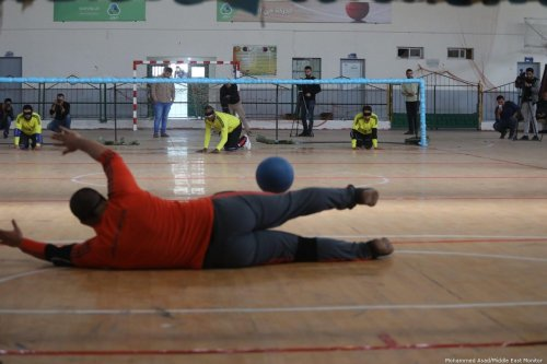 Gazans play Goalball Championship, a game designed specifically for athletes who are visually impaired on 21 November 2019 [Mohammed Asad/Middle East Monitor]