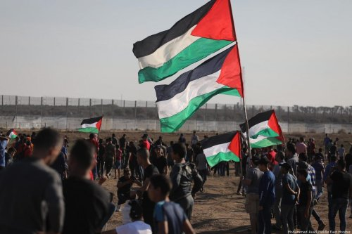Palestinians gather at the separation fence in Gaza for the Great March of Return on 1 November 2019 [Mohammed Asad/Middle East Monitor]