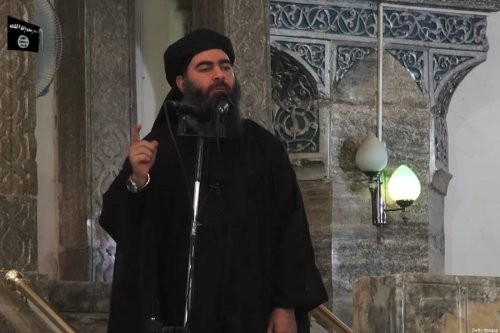 This July 5, 2014 photo shows an image grab taken from a propaganda video released by al-Furqan Media allegedly showing Daesh leader of Abu Bakr al-Baghdadi, at a mosque in the militant-held northern Iraqi city of Mosul. [AFP via Getty Images]