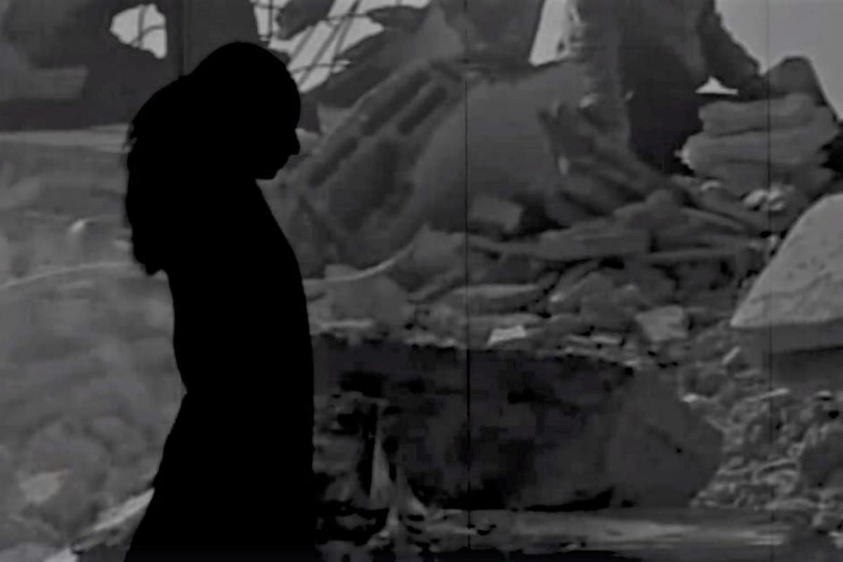 A screenshot from the short film, Nightmare of Gaza