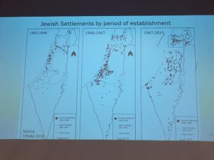 A map of the increaseing settlements in the occupied Palestinian territories, part of a speech by Prof Neve Gordon at MEMO and EuroPal Forum conference The Palestine Question in Europe on 23 November 2019