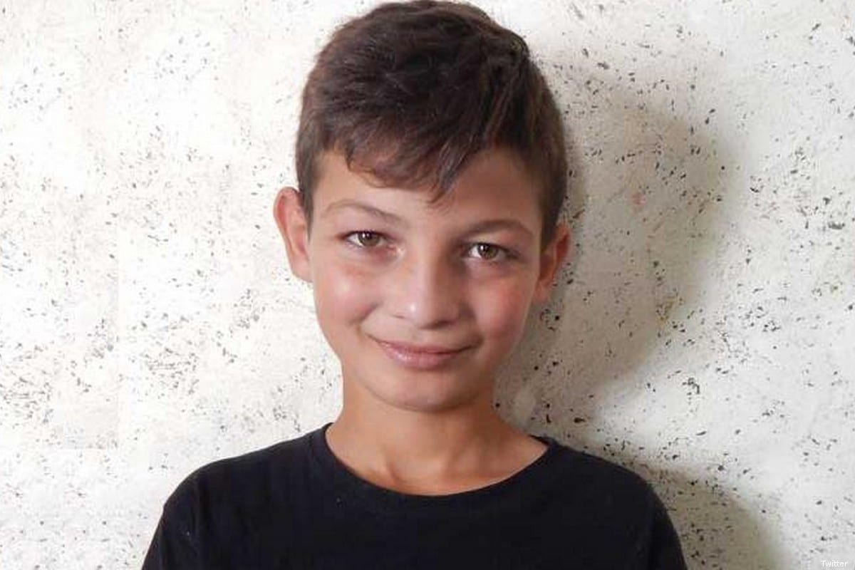 Qusai Al-Ja'ar, a ten-year-old Palestinian boy, was arrested by Israeli forces for more than three hours on 18 October 2019 [Twitter]