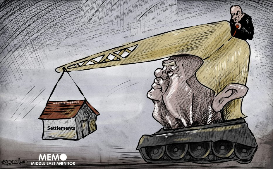US decision to back Israel's building of settlements - Cartoon [Sabaaneh/MiddleEastMonitor]