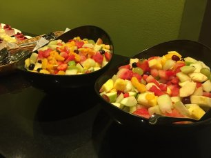 Fruit salad is served to guests at MEMO and EuroPal Forum conference The Palestine Question in Europe on 23 November 2019