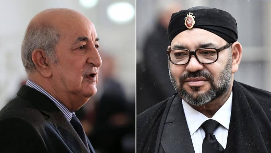 Moroccan King Mohammed VI (L) and Algerian President Abdelmadjid Tebboune