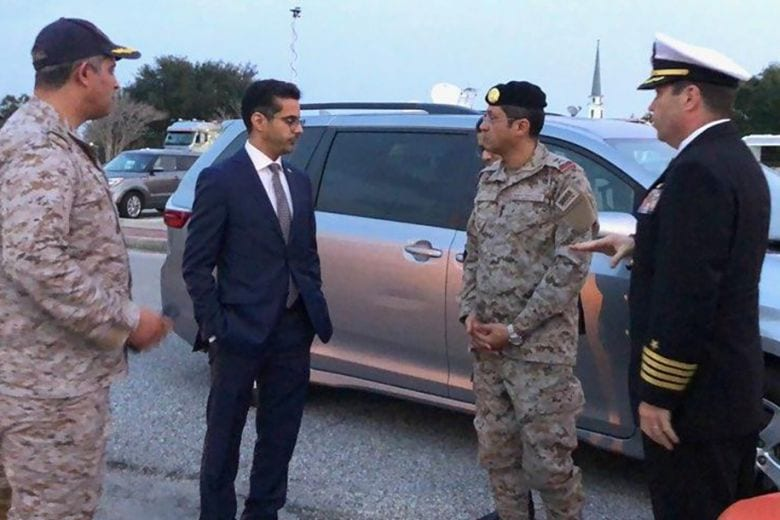 Saudi Arabia defence attache Fawaz Al Fawaz and his embassy staff and other officials arrive to meet Saudi students who remain restricted to the base [Twitter]