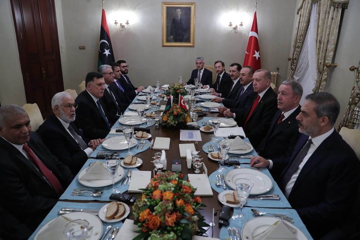 President of Turkey Recep Tayyip Erdogan (3rd R) meets the chairman of thee Presidential Council of Libya Fayez Al-Sarraj (3rd L) at Dolmabahce Office in Istanbul, Turkey on 27 November 2019. [Mustafa Kamacı - Anadolu Agency]