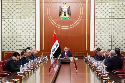 Iraqi Prime Minister Adel Abdul-Mahdi speaks during extraordinary cabinet meeting after he handed his resignation letter to the parliament, in Baghdad, Iraq on 30 November 2019. [Prime Ministry of Iraq / Handout - Anadolu Agency]