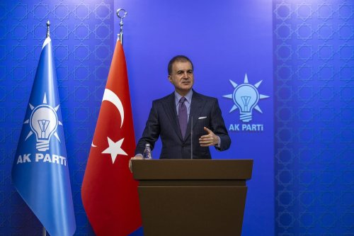Justice and Development Party's (AK Party) Deputy Chairman and AK Party's Spokesman Omer Celik delivers a speech as AK Party Central Executive Board (MKYK) meeting continue at the AK Party Headquarters in Ankara, Turkey on 6 December 2019. [Ali Balıkçı - Anadolu Agency]