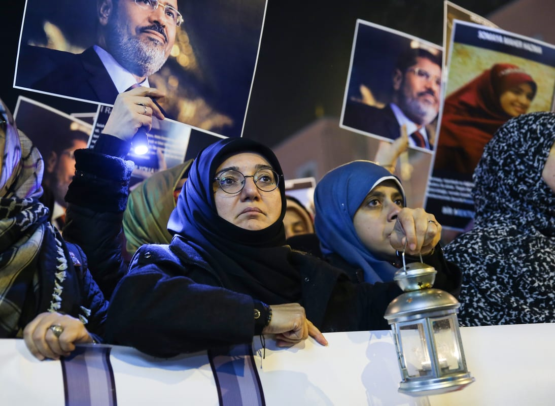 Large number of Egyptians and Turkish civil society groups attend a torchlight march in Istanbul to draw attention to unlawful detentions by the Egyptian regime after a night prayer at Fatih mosque in Istanbul, Turkey on 10 December, 2019 [İslam Yakut/Anadolu Agency]