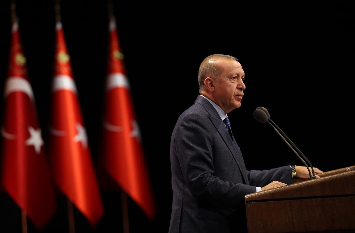 Turkish President Recep Tayyip Erdogan makes a speech Art Grand Awards Ceremony at Bestepe National Congress and Culture Center in Ankara, Turkey on 12 December 2019. [Murat Kula - Anadolu Agency]