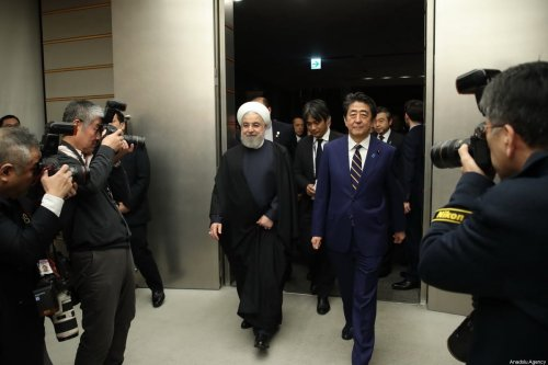 Iranian President, Hassan Rouhani (L) meets with Japanese Prime Minister Shinzo Abe (R) during his official visit in Tokyo, Japan on December 20, 2019 [Presidency of Iran / Handout / Anadolu Agency]