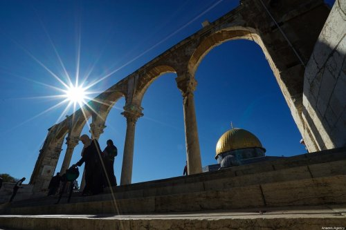 Muslims arrive to perform the Friday Prayer at Al-Aqsa Mosque Compound in Jerusalem on 20 December 2019. [Mostafa Alkharouf - Anadolu Agency]