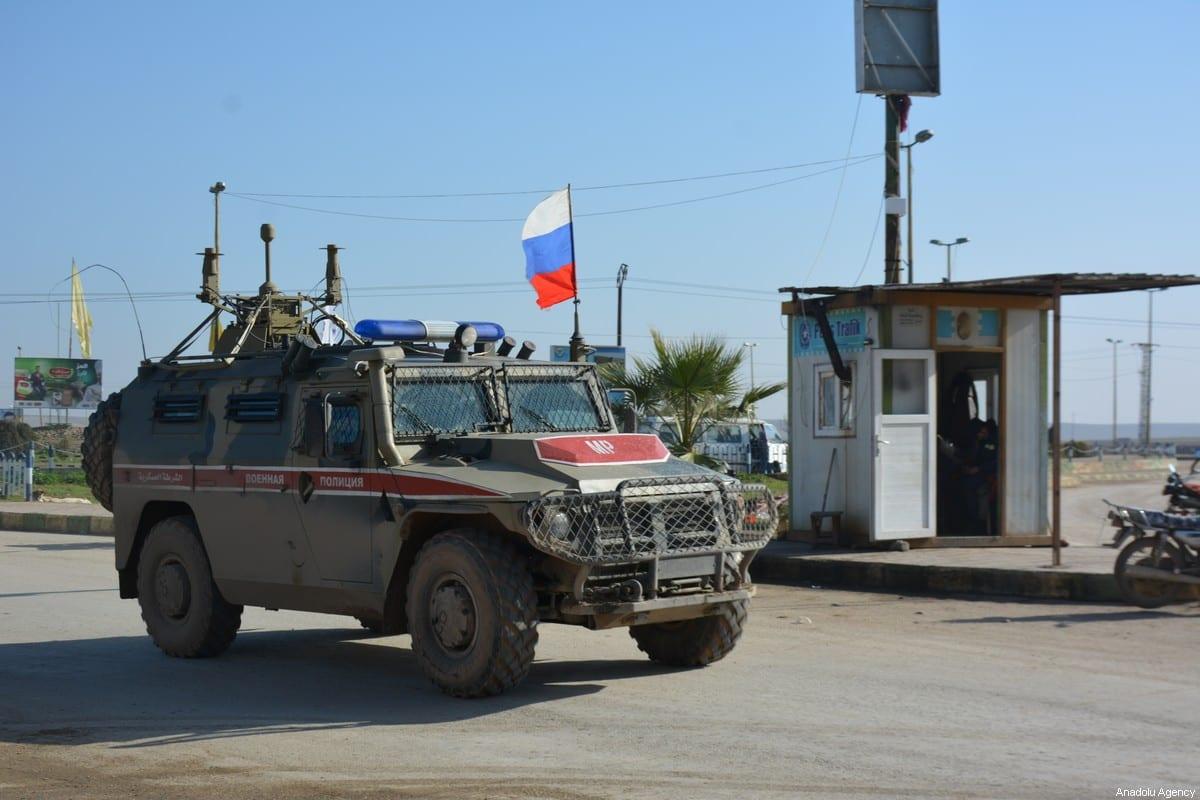 Russian soldiers seen in their armoured vehicles at Tall Tamr district of Hasaka (AlHasakeh) in Syria on December 16, 2019 [Bekir Kasim / Anadolu Agency]