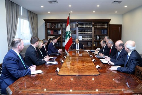 Lebanese President Michel Aoun (C) receives United States Under Secretary of State for Political Affairs David Hale (5th L) at Baabda Palace in Beirut, Lebanon on 20 December 2019. [Lebanese Presidency / Handout - Anadolu Agency]