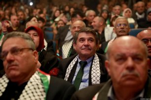 Chairman of Turkey-Palestine Friendship Group Huseyin Tanriverdi is seen during 'Person of the Year' award ceremony held by The Lady of the Earth Foundation in West Bank city of Ramallah on December 21, 2019 [Issam Rimawi / Anadolu Agency]