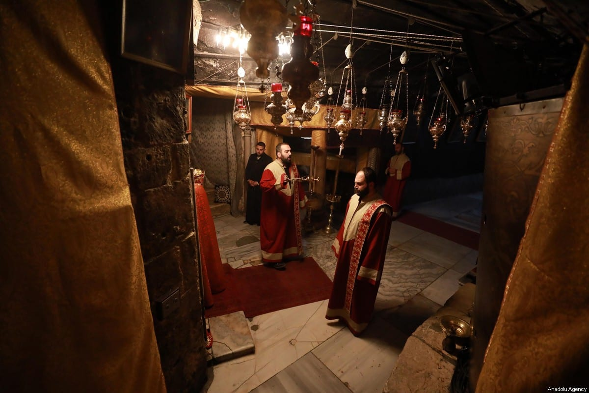 Christians gather at Church of the Nativity, which believed to be the birthplace of Jesus to attend Christmas ceremony in Bethlehem, West Bank, on December 24, 2019 [İssam Rimawi - Anadolu Agency]