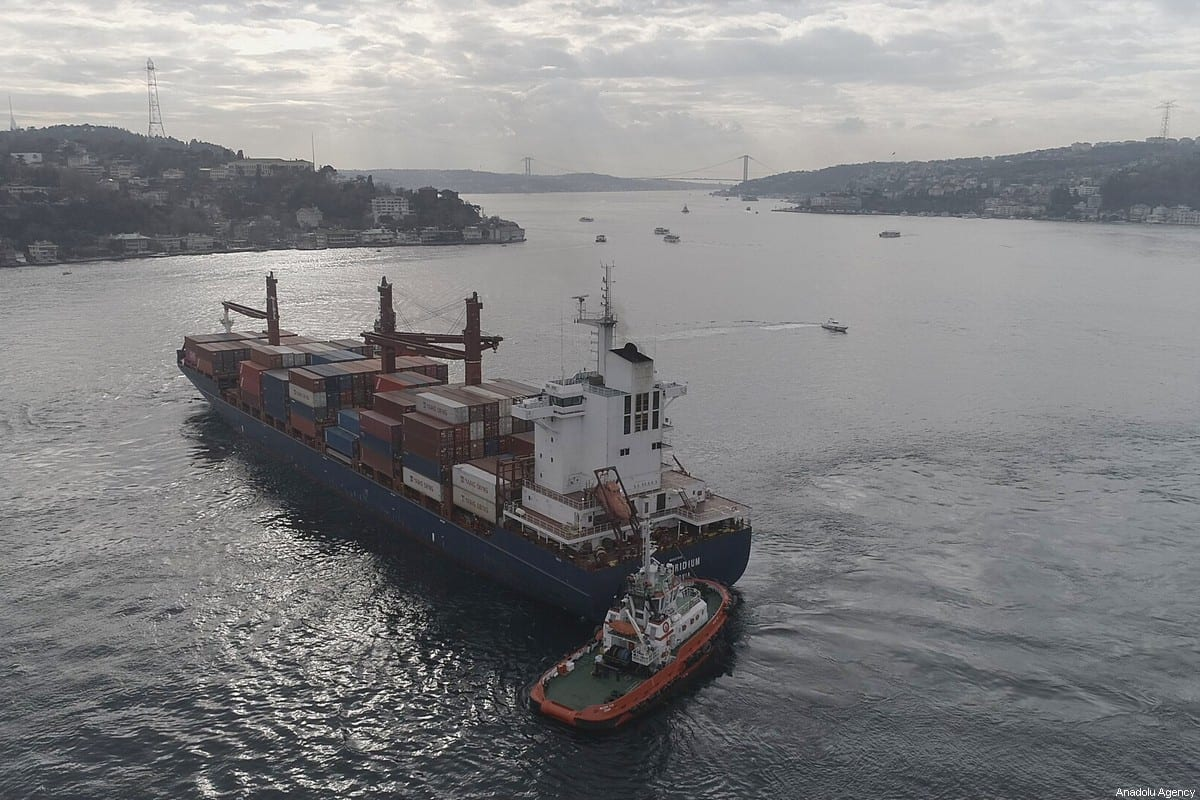 Liberia-flagged cargo vessel; 'Songa Iridium' is seen on the Bosphorus in Istanbul, Turkey on December 27, 2019 [İslam Yakut / Anadolu Agency]
