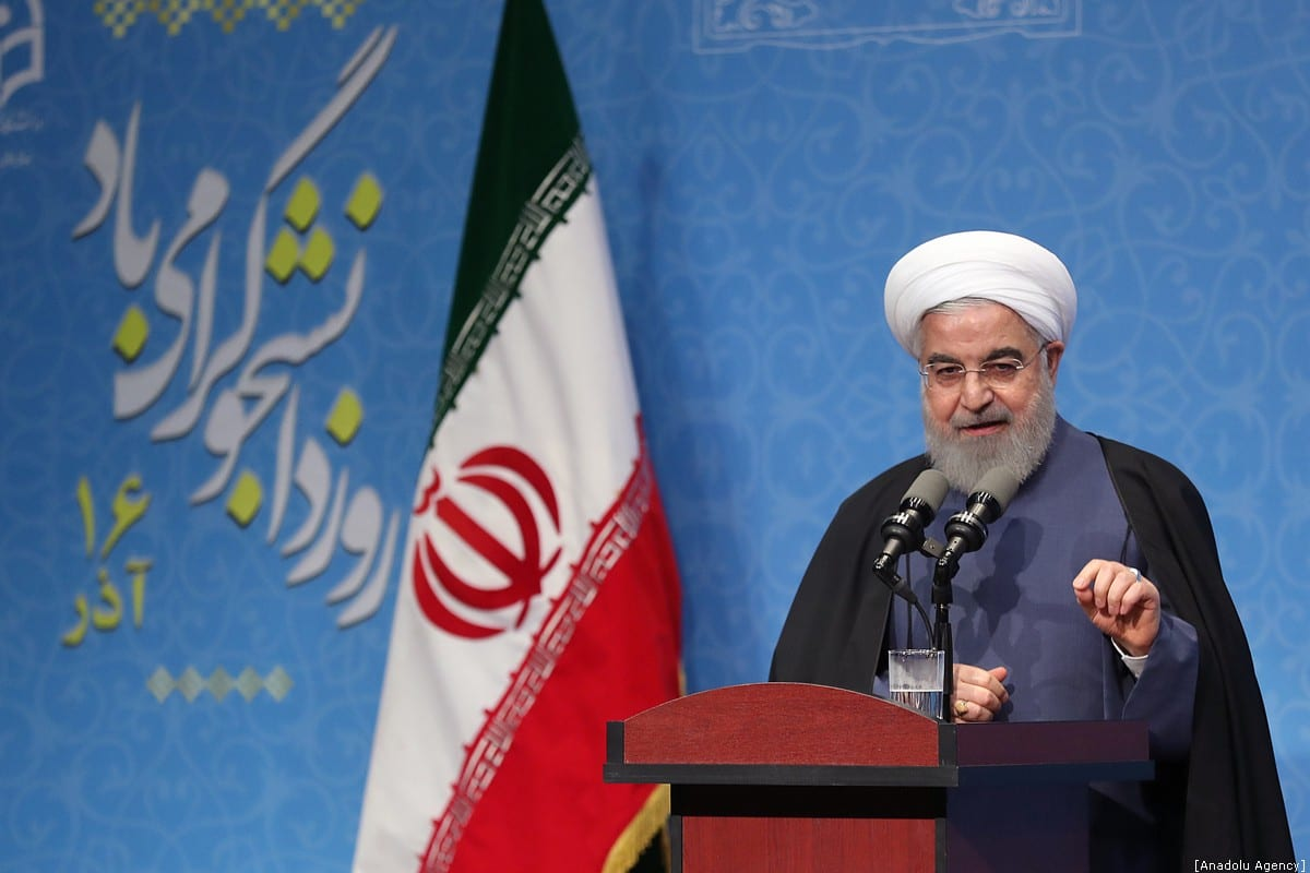 """Iran's President Hassan Rouhani delivers a speech during an event held within """"National Student Day"""" at Farhangian University in Tehran, Iran on 9 December, 2019 [Iranian Presidency/Handout/Anadolu Agency]"""