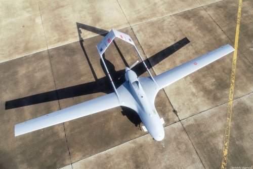 The first Turkish military drone lands at Gecitkale Airport in the eastern coastal city of Magusa (Famagusta) in Turkish Republic of Northern Cyprus (TRNC) on 16 December 2019. [Muhammed Enes Yıldırım - Anadolu Agency]