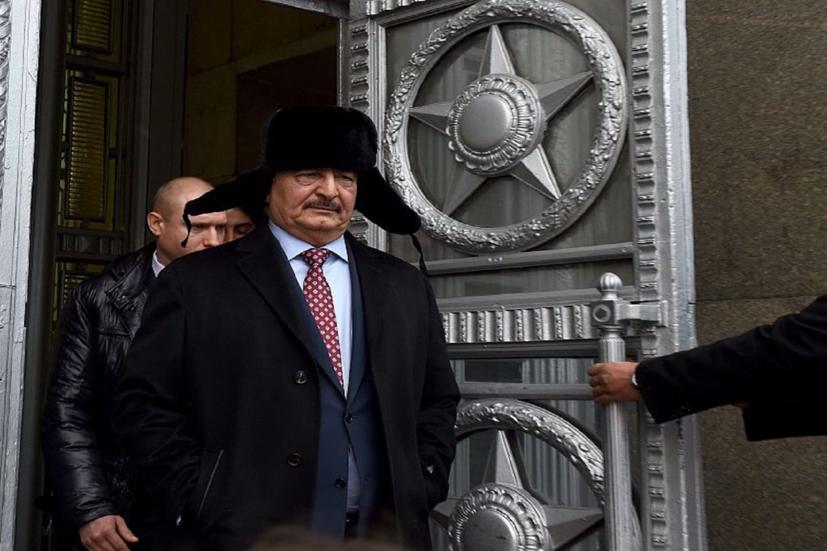Marshal Khalifa Haftar, chief of the so-called Libyan National Army, leaves the main building of Russia's Foreign Ministry after a meeting with Russian Minister of Foreign Affairs in Moscow on 29 November 2016 [VASILY MAXIMOV/AFP/Getty Images]