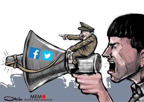 Algerian government has blocked social media platforms - Cartoon [Sabaaneh/MiddleEastMonitor]