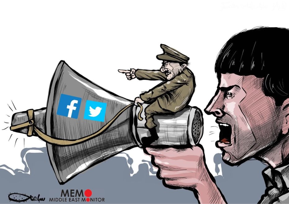 Algerian government has blocked social media platforms - Cartoon [Sabaaneh/MiddleEastMonitor]